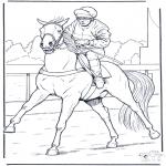 Kleurplaten Dieren - Jockey op paard
