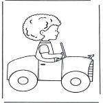 Allerlei Kleurplaten - Jongen in auto