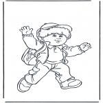 Kinderkleurplaten - Jongen met tas