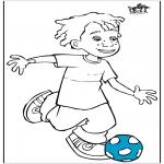 Allerlei Kleurplaten - Jongen met voetbal