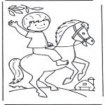 Kleurplaten dieren - Jongen op paard