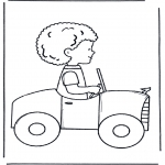 Kinderkleurplaten - Jongetje in auto