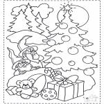 Kerst Kleurplaten - Kabouters en kerstboom