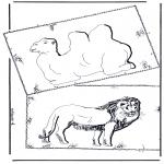 Kleurplaten Dieren - Kameel en Leeuw