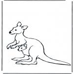 Kleurplaten Dieren - Kangoeroe en jong
