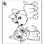 Kleurplaten Dieren - Kat en hond