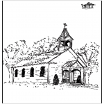 Kleurplaten Bijbel - Kerkje 2