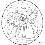 Kerst Kleurplaten - Kerst borduurkaart 12