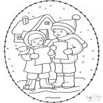 Kerst Kleurplaten - Kerst borduurkaart 16