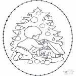 Kerst Kleurplaten - Kerst Borduurkaart 20