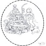 Kerst Kleurplaten - Kerst borduurkaart 5