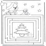 Kerst Kleurplaten - Kerst doolhof 3