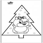 Kerst Kleurplaten - Kerst Hamster 2