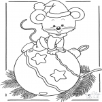 Kerst Kleurplaten - Kerst muis