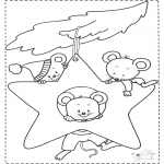 Kerst Kleurplaten - Kerst muizen