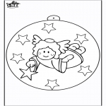 Kerst Kleurplaten - Kerstbal met engel 2