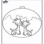 Kerst Kleurplaten - Kerstbal met giraffe