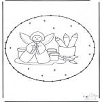 Knutselen Borduurkaarten - Kerstengel borduren