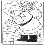 Kerst Kleurplaten - Kerstman bij schoorsteen