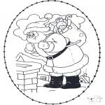 Knutselen Borduurkaarten - Kerstman knutselen