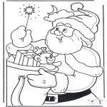Kerst Kleurplaten - Kerstman met staf