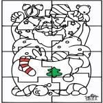 Kerst Kleurplaten - Kerstman Puzzel