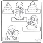 Kerst Kleurplaten - Kerststal knutselen 2