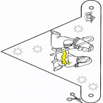 Kerst Kleurplaten - Kerststal vlaggetje