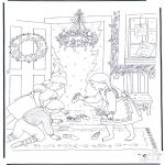 Kerst Kleurplaten - Kersttafereel