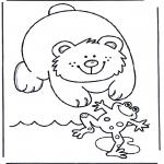 Kinderkleurplaten - Kikker en beer