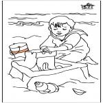 Kinderkleurplaten - Kind aan zee