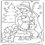 Kerst Kleurplaten - Kind in kribbe