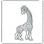 Kinderkleurplaten - Kinder giraffe