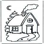 Kinderkleurplaten - Kinder huisje