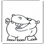 Kinderkleurplaten - Kinder nijlpaard 1