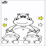 Kinderkleurplaten - Kinder nijlpaard 4