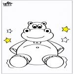 Kinderkleurplaten - Kinder nijlpaard 5