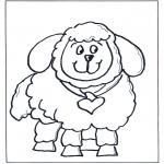 Kinderkleurplaten - Kinder schaap