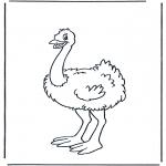 Kinderkleurplaten - Kinder struisvogel