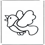 Kinderkleurplaten - Kinder vogel 2