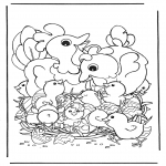 Thema Kleurplaten - Kippen met eieren