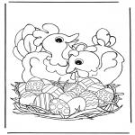 Thema Kleurplaten - Kippen met paaseieren