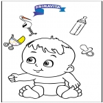 Thema Kleurplaten - Kleurplaat baby 3