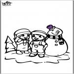 Kleurplaten Winter - Kleurplaat sneeuwpop 2