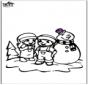 Kleurplaat sneeuwpop 2