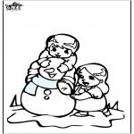 Kleurplaten Winter - Kleurplaat sneeuwpop 3