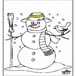 Kleurplaten Winter - Kleurplaten sneeuwman 2