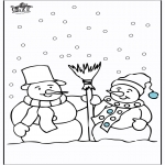 Kleurplaten Winter - Kleurplaten sneeuwman 4