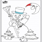 Kleurplaten Winter - Kleurplaten sneeuwman 5
