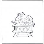 Kinderkleurplaten - Kleuter in zitstoel
